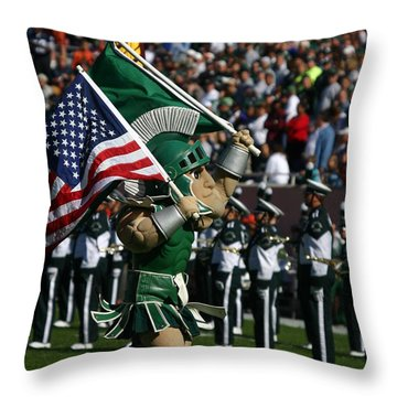 Sparty At Football Game Throw Pillow by John McGraw