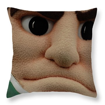 Sparty Face  Throw Pillow by John McGraw