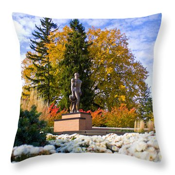 Sparty In Autumn  Throw Pillow by John McGraw