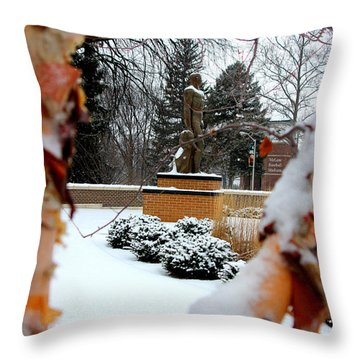 Sparty In The Winter Throw Pillow by John McGraw