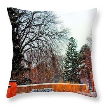 Sparty In Winter  Throw Pillow by John McGraw