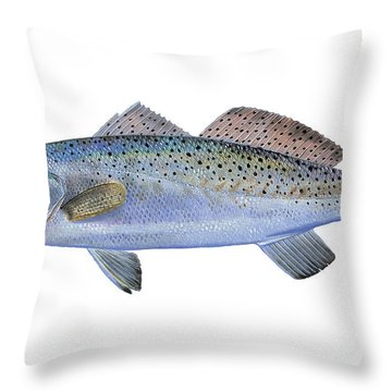 Speckled Trout Throw Pillow by Carey Chen