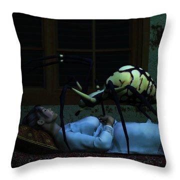 Spider Nightmare Throw Pillow by Daniel Eskridge