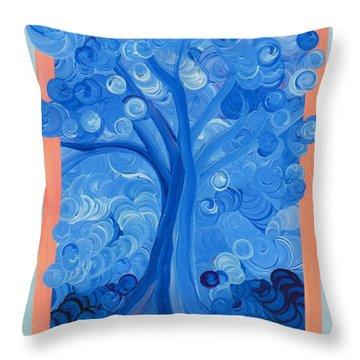 Spiral Tree Winter Blue Throw Pillow by First Star Art