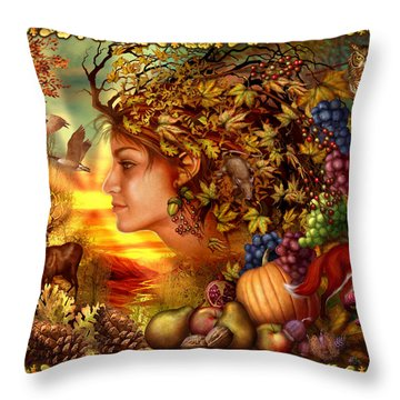 Spirit Of Autumn Throw Pillow by Ciro Marchetti