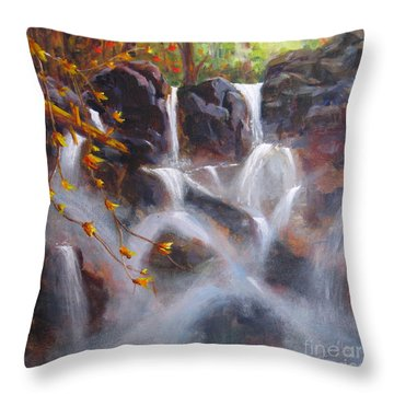 Splash And Trickle Throw Pillow by Mohamed Hirji