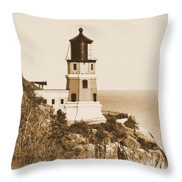 Split Rock Lighthouse Throw Pillow by Kristin Elmquist