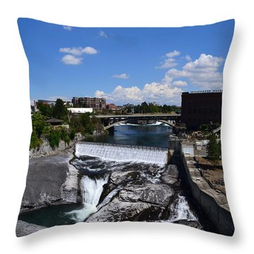 Spokane Falls And Riverfront Throw Pillow by Michelle Calkins