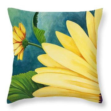 Spring Daisy Throw Pillow by Carol Sabo