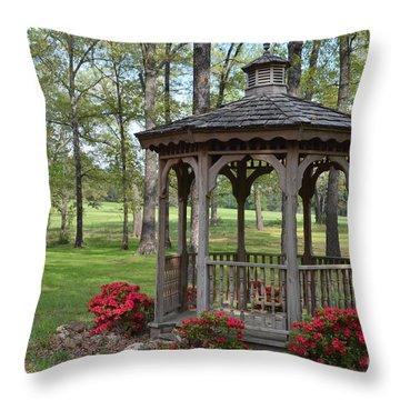 Spring Gazebo Throw Pillow by Debbie Portwood
