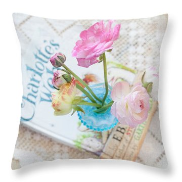 Spring Ranunculus Throw Pillow by June Marie Sobrito