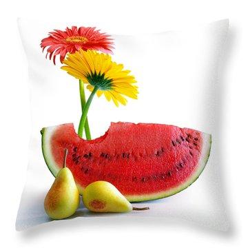 Spring Watermelon Throw Pillow by Carlos Caetano