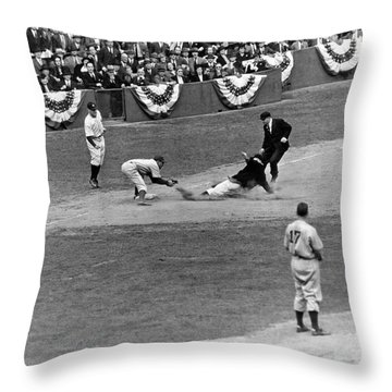 Spud Chandler Is Out At Third In The Second Game Of The 1941 Wor Throw Pillow by Underwood Archives