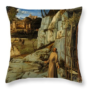 St Francis Of Assisi In The Desert Throw Pillow by Giovanni Bellini