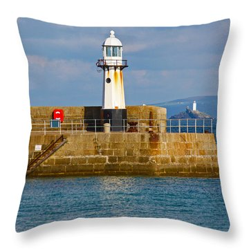 St Ives And Godrevy Lighthouses Cornwall Throw Pillow by Terri Waters