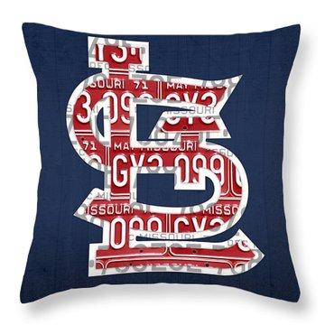St. Louis Cardinals Baseball Vintage Logo License Plate Art Throw Pillow by Design Turnpike