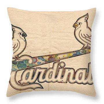 St Louis Cardinals Poster Art Throw Pillow by Florian Rodarte