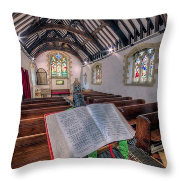 St Tysilios Bible Throw Pillow by Adrian Evans