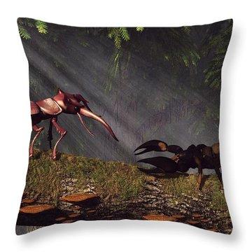 Stag Beetle Versus Scorpion Throw Pillow by Daniel Eskridge