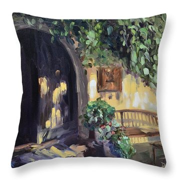 Stags Leap Wine Cellars Tasting Room Throw Pillow by Donna Tuten