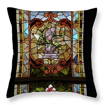 Stained Glass 3 Panel Vertical Composite 06 Throw Pillow by Thomas Woolworth