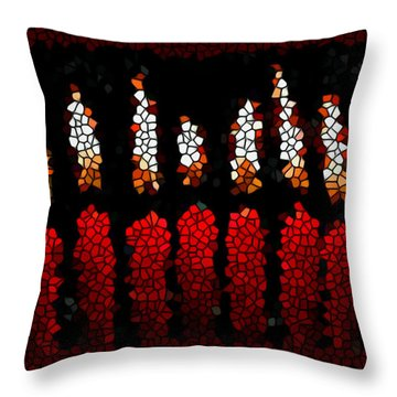Stained Glass Candle Throw Pillow by Lanjee Chee