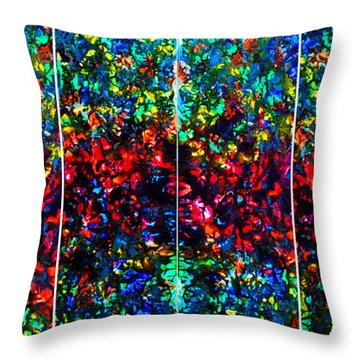 Stained Glass Collage Throw Pillow by Nancy Mueller