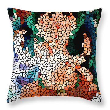 Stained Glass Ganapati Throw Pillow by Lanjee Chee