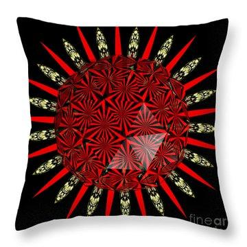 Stained Glass Window Kaleidoscope Polyhedron Throw Pillow by Rose Santuci-Sofranko