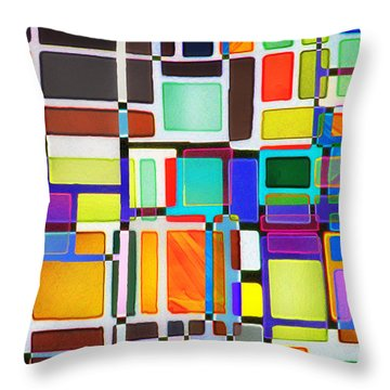 Stained Glass Window Multi-colored Abstract Throw Pillow by Natalie Kinnear