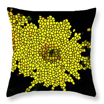 Stained Glass Yellow Chrysanthemum Flower Throw Pillow by Lanjee Chee
