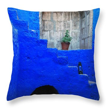 Staircase In Blue Courtyard Throw Pillow by RicardMN Photography