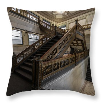Stairwell Chicago Cultural Center Throw Pillow by Steve Gadomski