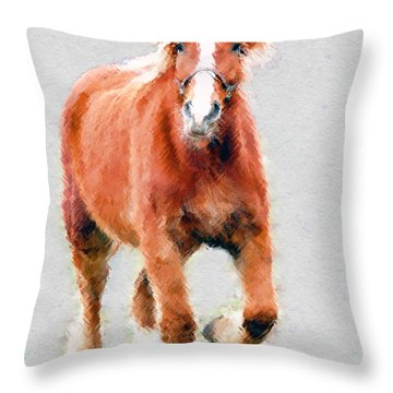 Stallion Portrait Throw Pillow by Dan Friend