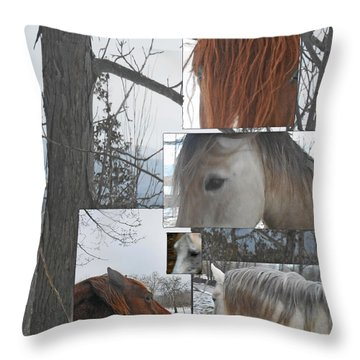 Stallions Collage There Is A Connection Throw Pillow by Patricia Keller