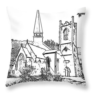 Stamp Of Churches Throw Pillow by Vicky  Hutton