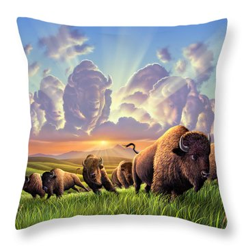 Stampede Throw Pillow by Jerry LoFaro