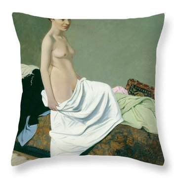 Standing Nude Holding A Gown On Her Knee Throw Pillow by Felix Edouard Vallotton