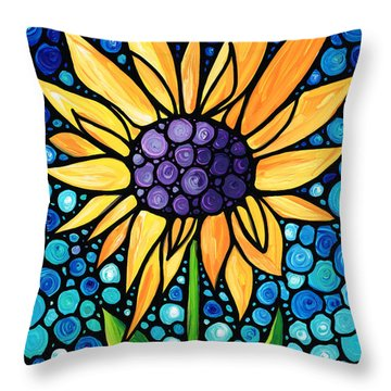 Standing Tall - Sunflower Art By Sharon Cummings Throw Pillow by Sharon Cummings