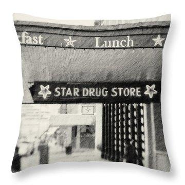 Star Drug Store Marquee Throw Pillow by Scott Pellegrin