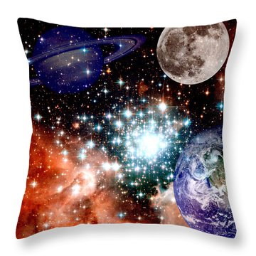 Star Field With Planets Throw Pillow by J D Owen