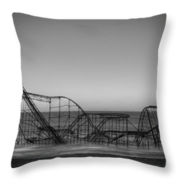 Star Jet Roller Coaster Bw Throw Pillow by Michael Ver Sprill
