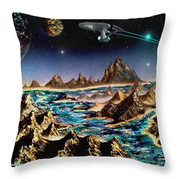 Star Trek - Orbiting Planet Throw Pillow by Michael Rucker