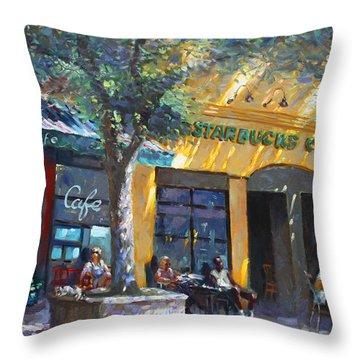 Starbucks Hangout Nyack Ny Throw Pillow by Ylli Haruni