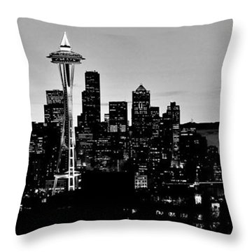 Stark Seattle Skyline Throw Pillow by Benjamin Yeager