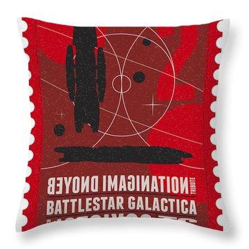 Starschips 02-poststamp - Battlestar Galactica Throw Pillow by Chungkong Art