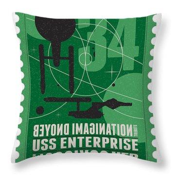 Starschips 34-poststamp - Uss Enterprise Throw Pillow by Chungkong Art