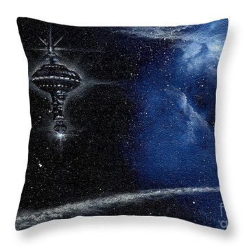 Station In The Stars Throw Pillow by Murphy Elliott