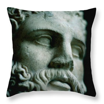 Statue Face Throw Pillow by Marcio Faustino