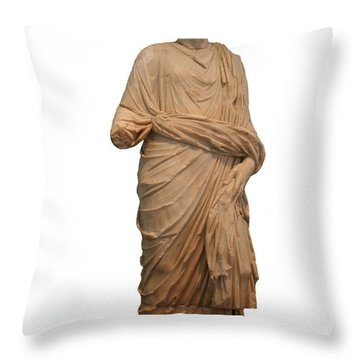 Statue Of A Roman Priest Wearing A Toga Throw Pillow by Tracey Harrington-Simpson